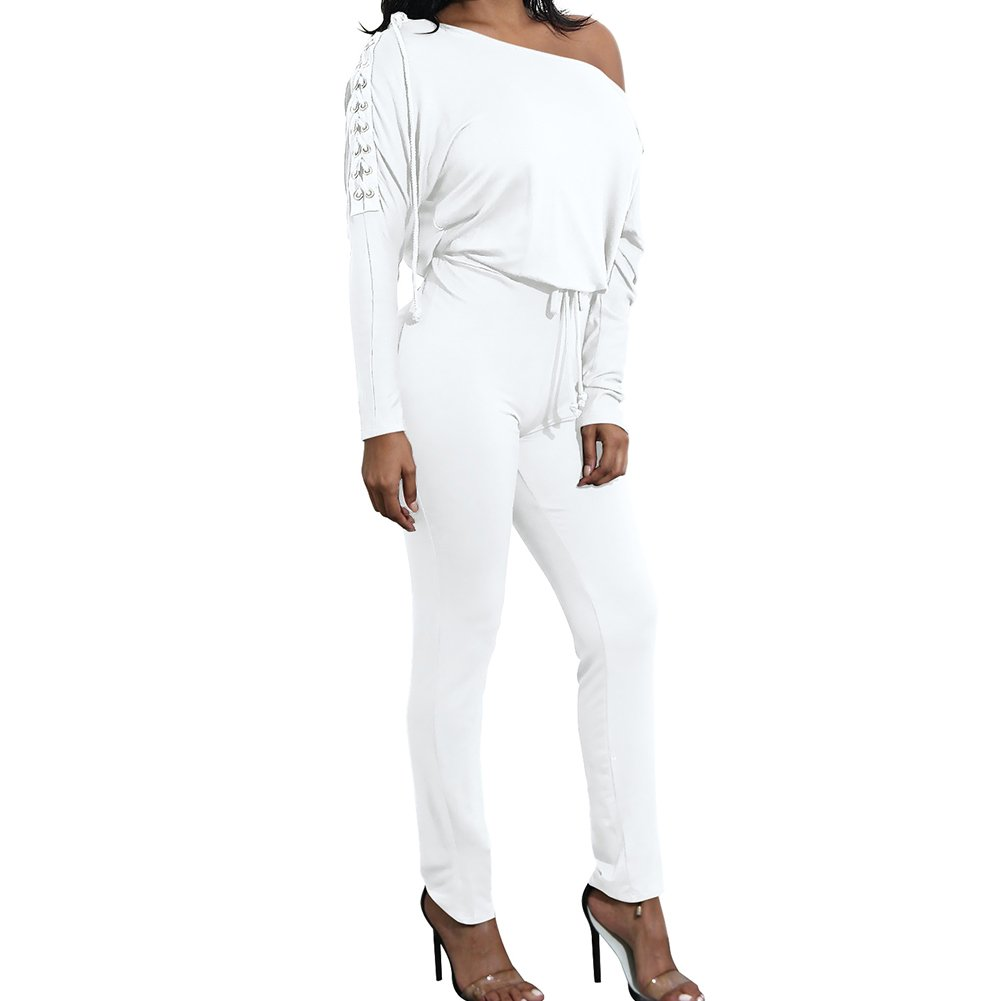 979413be24f2 Amazon.com  Enggras Women s One Shoulder Long Sleeve Elegant Long Pant Jumpsuit  Playsuit Overall White M  Clothing