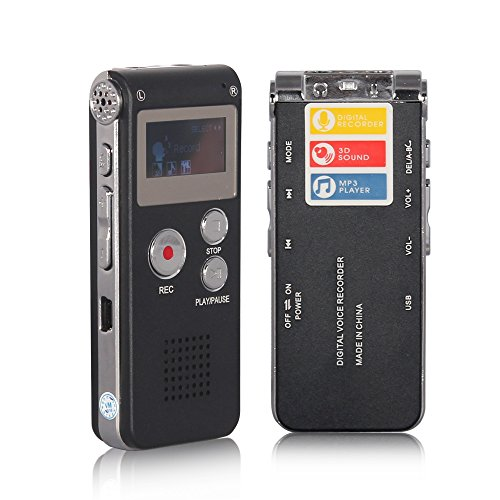 ACEE DEAL Digital Voice Recorder 8GB, Audio Voice Activated MP3 Player with Android USB Port, Multifunction Recorder Dictaphone with Built-in Speaker, Include Cables and Earphones Black-with-Silver