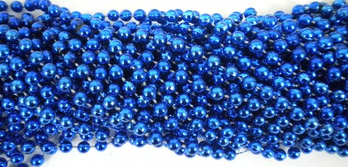 - 33 inch 07mm Round Metallic Royal Blue Mardi Gras Beads - 6 Dozen (72 necklaces)