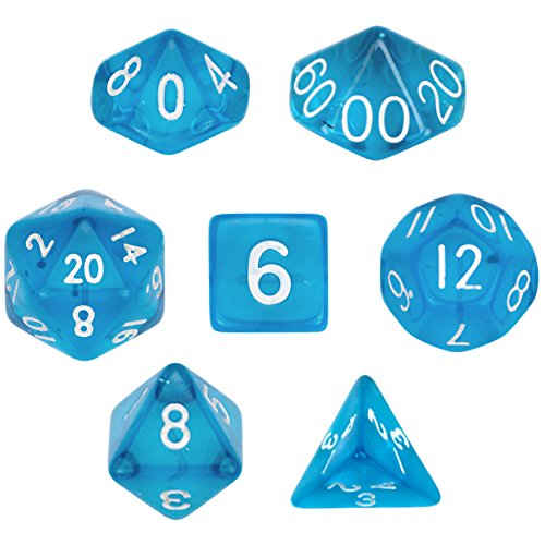 7 Die Polyhedral Dice Set - Translucent Blue with Velvet Pouch By Wiz (Translucent Poly Bags)