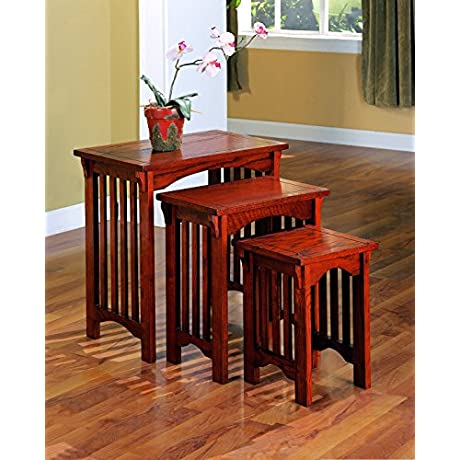 Coaster 901049 3 Piece Mission Style Occasional Nesting Side Table Set Oak