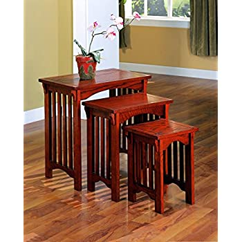 coaster 3piece mission style occasional nesting side table set oak