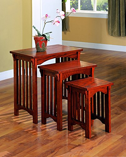 Coaster Traditional Warm Brown 3-Piece Nesting Table Set
