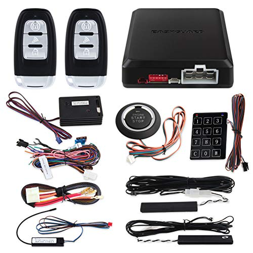 EASYGUARD EC002-NS PKE Passive Keyless Entry Car Alarm System Remote Start Starter Push Start Stop Button Touch Password Entry Shock Sensor Alarm (Difference Between Keyless And Remote Central Locking)