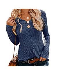 Romose Women Knit Long Sleeve Sweater Tunic Blouse Shirts Casual Loose Sweatshirt Tops V Neck Pullover