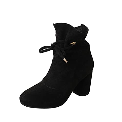 2018Women's Spring Fashion Square Heel Outdoor Lace-up Martin Ankle Boots
