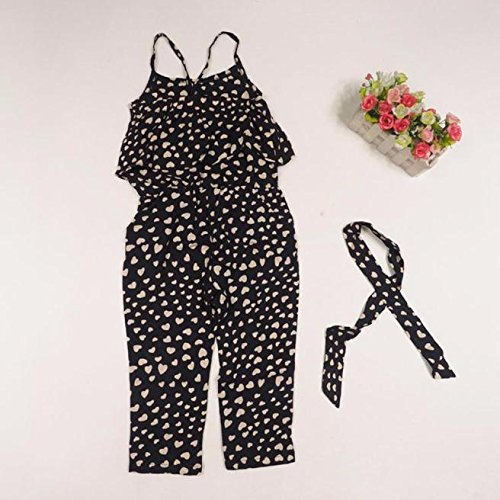 Kids Baby Girls Summer One Piece Jumpsuits Outfits Love Heart Print Ruffle Strap Halter Romper Pants Clothes