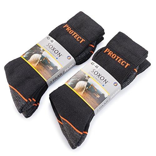 Soxon trabajo Calcetines Protect - 4ER Pack - Robusta Heavy Duty trabajo Calcetines Negro negro: Amazon.es: Ropa y accesorios
