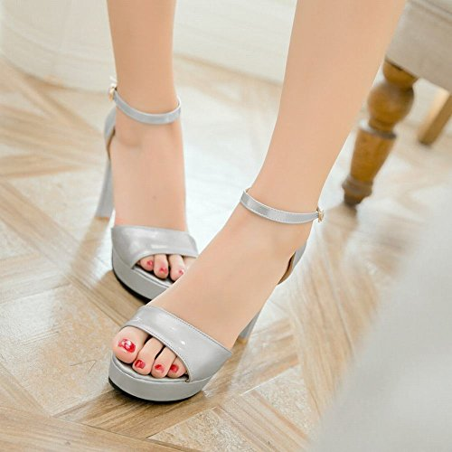 Mee Shoes Damen high heels ankle strap Schnalle Sandalen Silber