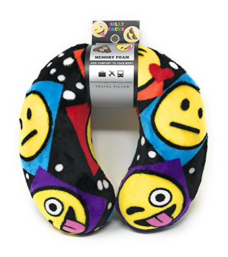 Emoji Faces Round Velvet Memory Foam U Shaped Travel Pillow Neck Support Head Rest Cushion Plush Soft Toy Toddlers Teens Emojies Expressions Faces (Cute Homemade Ladybug Costumes)