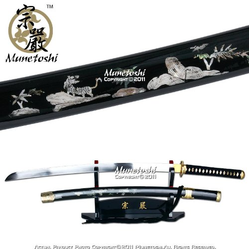 UPC 609224828546, Munetoshi Competition Samgakdo Korean Sword Katana Tiger Mother of Pearl Inlayed