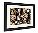 Ashley Canvas Hibiscus Pattern, Wall Art Home Decoration, Sepia, 34x40 (frame size), Black Frame, AG1538885