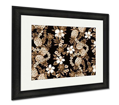 Ashley Canvas Hibiscus Pattern, Wall Art Home Decoration, Sepia, 34x40 (frame size), Black Frame, AG1538885 by Ashley Canvas