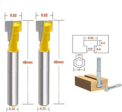 """1//4/"""" Shank T-Slot Key hole Woodworking Cutter Router Bit 1//4/"""" Tool"""