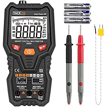 Tacklife DM06 Premium Smart Digital Multimeter Auto-Ranging TRMS 6000 Counts AC/DC Voltage /Current,Resistance,Frequency,Temperature,Transistor,Continuity,Capacitance Tester