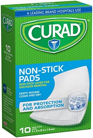 Curad Non-Stick Pads, 2 X 3 Inches, 10 Count