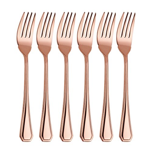 Onlycooker 8-inch 6 Piece Fish Fork Flatware Silverware Set Service for 6 Stainless Steel Cutlery Dishwasher Safe (Rose Gold) (Fish Rose Fork)