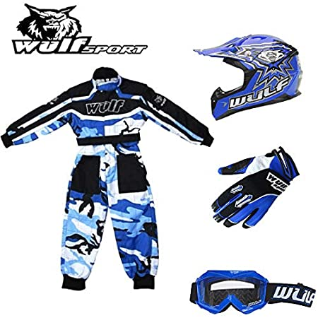 Kids Camo Suit M 7cm Wulf Wulfsport Kids Flite Motocross Helmet Red 7-8Yrs + Cub Abstract Goggles Stratos Gloves XS 51-52cm