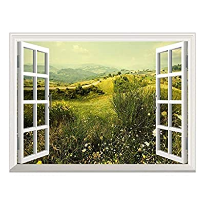 Top Quality Design, Amazing Expertise, Removable Wall Sticker Wall Mural Beautiful Spring Field with Wild Flowers Creative Window View Wall Decor