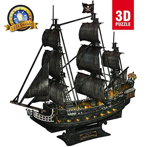CubicFun L520h Queen Anne's Revenge Pirate Ship Model Kit (with LEDs) 3d Puzzle, Large 340 Pcs Pirate Ship Revenge