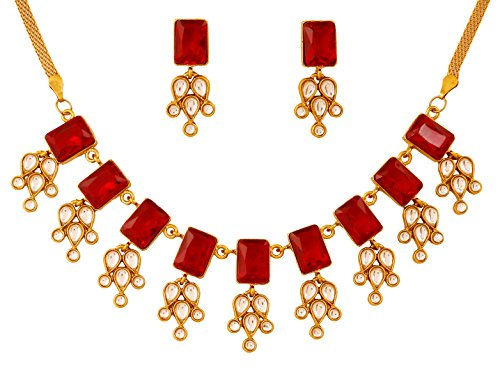 (Touchstone gold tone Indian bollywood red faux ruby and rhinestones jewelry necklace set for women)