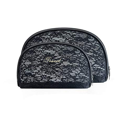 2 Pcs Small Travel Clutch Makeup Cosmetic Bag Set For Purse Handy Compact Cosmetic Storage Pouch Organizer For Women Teens Girls (black lace)