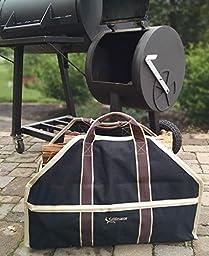 Grillinator Ultimate Firewood Log Carrier: Back Saving Design with Ultra Premium Canvas (Black)