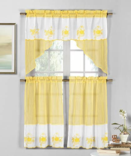 3 Piece Sheer Window Curtain Set Fruit Basket Embroidery, 2 Tiers, 1 Swag Valance Yellow and White
