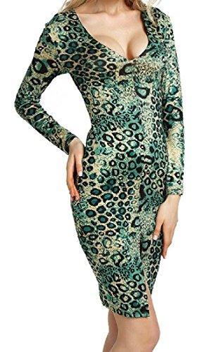 V Sexy Comfy Neck Dress Women Cut Hip Out Green Long Leopard Sleeve Package ZAAw5qI