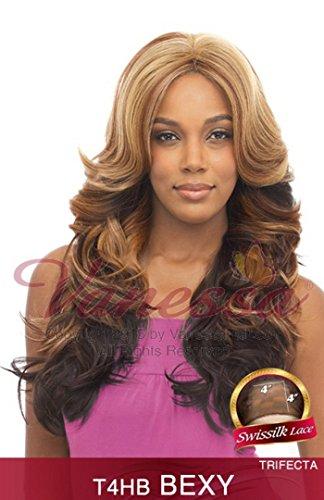 BEXY (1B Off Black) - Vanessa Swiss Silk Lace Front Brazilian Human Hair Blend Wig