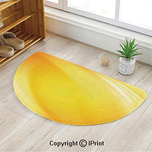 (LEFEDZYLJHGO Half Moon Circle Mat Semi Circle Mat,Semicircle Rug,Non Slip Backing,Radiate Yellow Light Lines Like Sand with Ombre White Digital Reflection,35