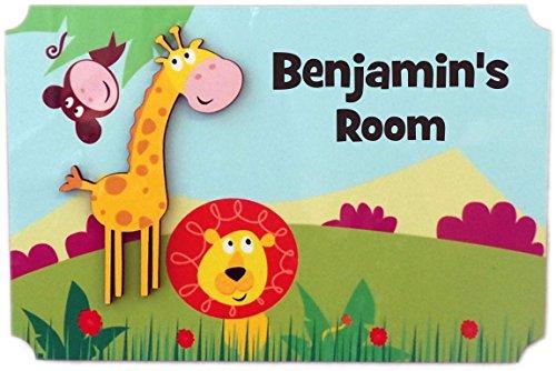 (Rikki Knight Benjamin's Room - 3D Giraffe on Jungle - Door Sign Plaque with Name for Children and Baby's Bedroom)