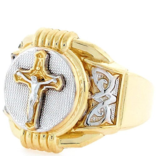 10k Two Tone Gold Religious Crucifix Cross Mens (Two Tone Gold Crucifix Ring)