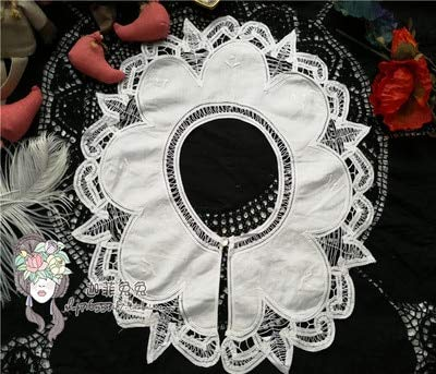 DalaB New 2PCS/Lot White Battenburg Lace Collar Embroider Lace Decoration Lace Fabric Sewing Accessories DIY - (Color: Style - Parasol Bulb