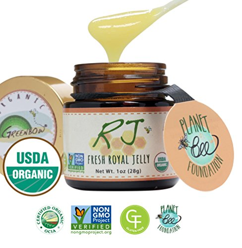 Fresh Royal Jelly - GREENBOW Organic Fresh Royal Jelly - 100% USDA Certified Organic, Pure, Gluten Free, Non-GMO Royal Jelly - One of The Most Nutrition Packed Diet Supplements - Highest Quality Royal Jelly - (28g)
