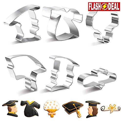 SveBake Graduation Cookie Cutter Set -Mini 6 Pieces Rust-proof Stainless Steel Biscuit Cutters with Shapes of Graduation Cap, Gown,Diploma,Bouquet (Cookie Cutters Graduation)