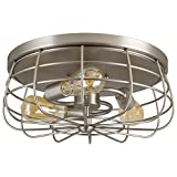 Kira Home Gage 15'' Industrial 3-Light Cage Flush Mount Ceiling Light, Brushed Nickel Finish
