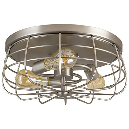 Kira Home Gage 15'' Industrial 3-Light Cage Flush Mount Ceiling Light, Brushed Nickel Finish by Kira Home