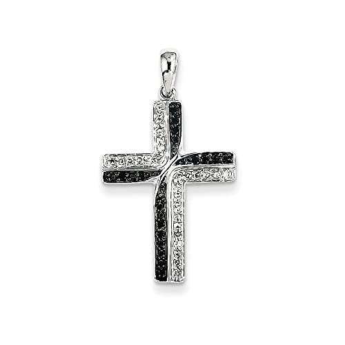 14K White Gold Black & White Diamond Cross Pendant