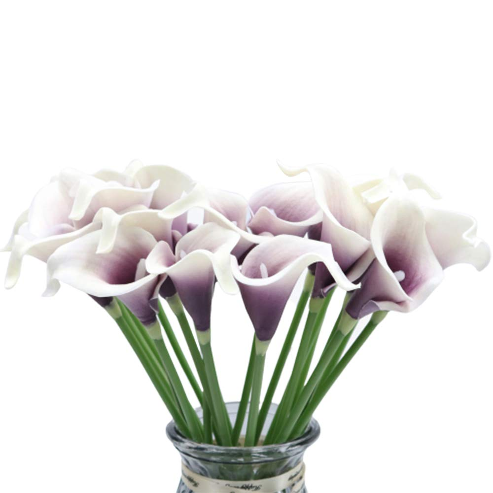 Artificial Flowers, 20Pcs Multicolour Fake Flowers PU Artificial Calla Lily Decoration for Home Garden Party Wedding Bridal Wedding Bouquet (Purple and White) by Meetu DIY US