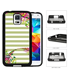 Pastel Olive Green & White Horizontal Stripes With Top & Bottom Floral Flower Vine Swirls Samsung Galaxy S5 SM-G900 Rubber Silicone TPU Cell Phone Case