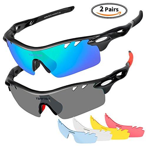Tsafrer Polarized Sports Sunglasses 2 Pairs for Men Women Cycling Running Driving Fishing Baseball Golf Glasses by Tsafrer