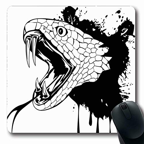 Ahawoso Mousepads for Computers Tribal Rattlesnake Snake Head Cobra Fang Serpent Scary Striking Tongue Design Aggression Oblong Shape 7.9 x 9.5 Inches Non-Slip Oblong Gaming Mouse -