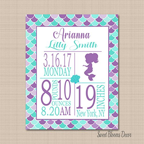 - Mermaid Birth Print,Mermaid Birth Announcement,Mermaid Birthday Gift,Mermaid Nursery Decor,Purple Teal Mermaid Art 8X10 UNFRAMED PRINT(NOT CANVAS)