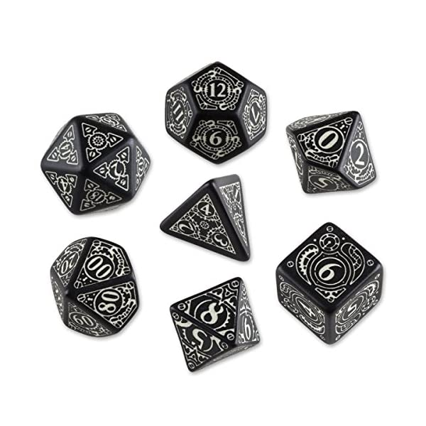 Steampunk Black & Glow-in-The-Dark Dice Set (7) 3