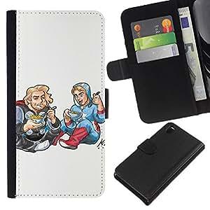 Sony Xperia Z3 D6603 / D6633 / D6643 / D6653 / D6616 , la tarjeta de Crédito Slots PU Funda de cuero Monedero caso cubierta de piel ( Drawing Art Kids Food Street Style Blonde)