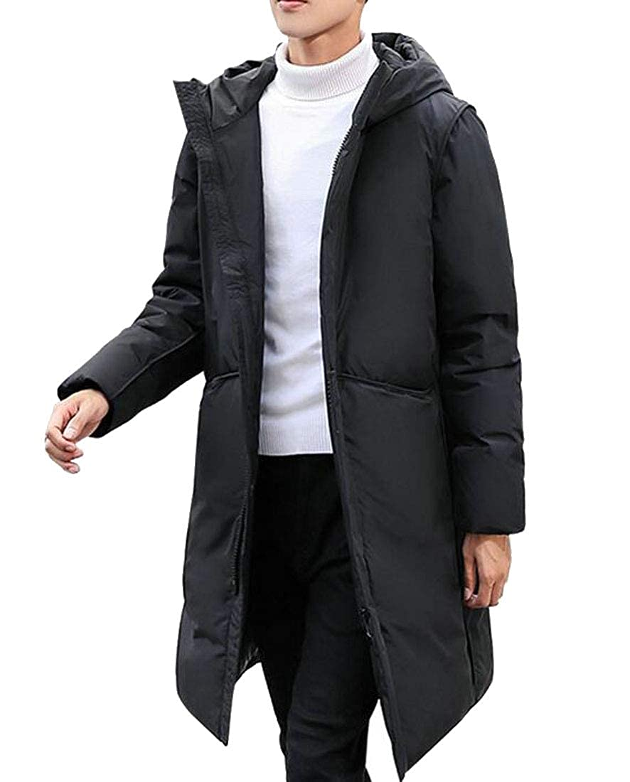 Lutratocro Men Casual Zip Puffer Hooded Thick Pure Colour Mid-Length Down Coat