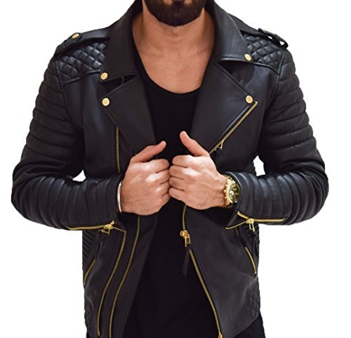 (Aries Leathers Men's Real Lambskin Leather Genuine Motorcycle Jacket MJ300 (L,)