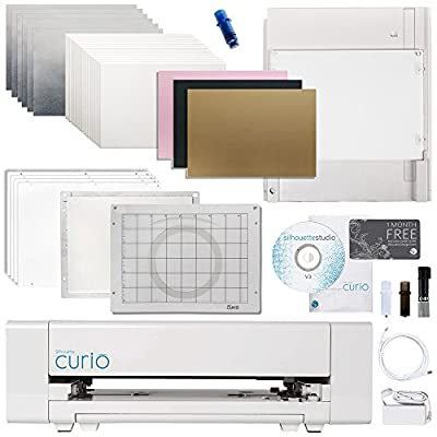 Silhouette Curio Digital Crafting Machine with Metal Etching, Embossing, Stippling Bundle