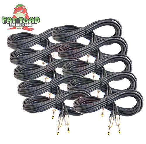 (Guitar Cables (10 Pack) Instrument Cord by Fat Toad | 20 Gauge Patch Conductor for Electric or Acoustic Guitar, Bass, Keyboards & Pro-Audio Recording Studio|Shielded 20 FT 1/4 Inch Straight-End Wires)